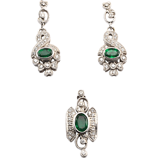 Emerald and Diamond Earrings and Pendant Set