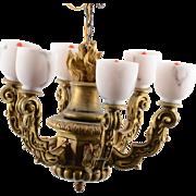 Italian Art Nouveau Gilt Wood Chandelier