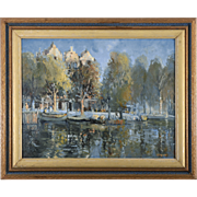 Oil on Board Impressionistic Riverside Scene by A F Trickett