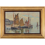 Oil on Board Impressionistic Harbor Scene by Jean Colin