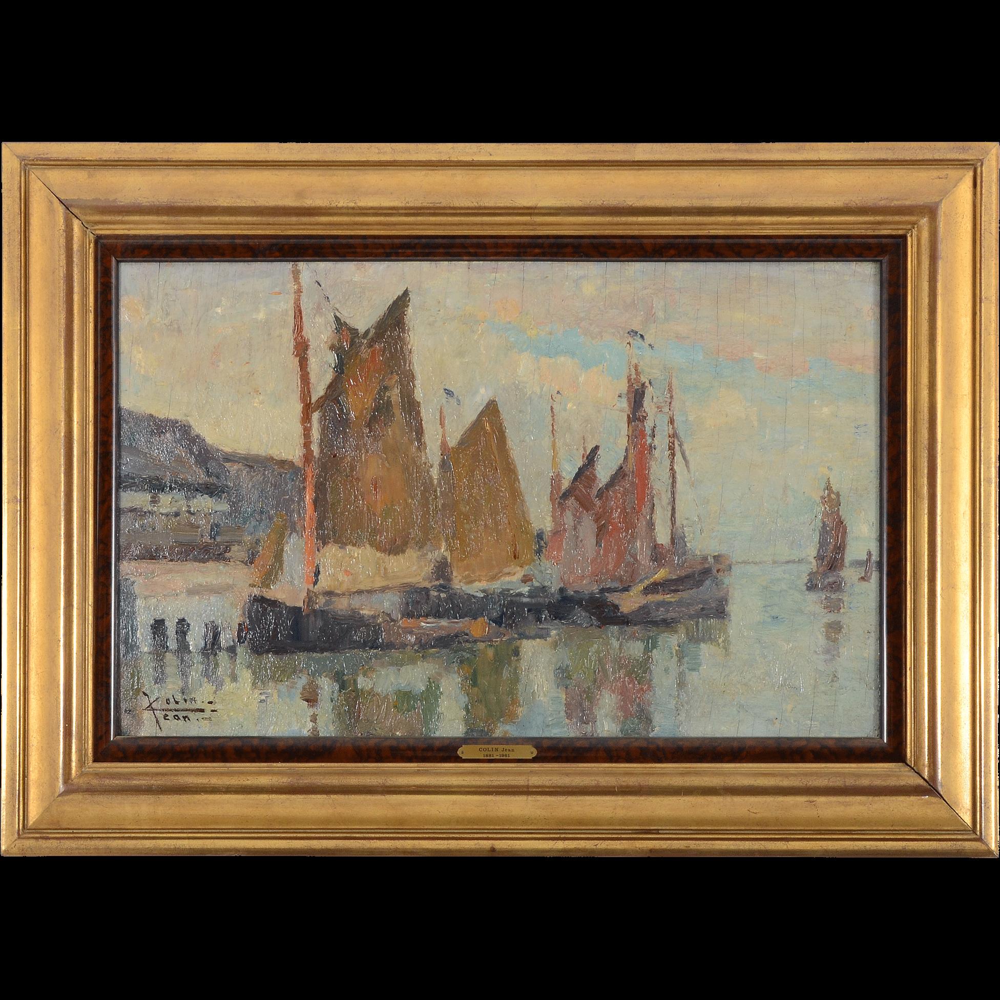 Oil on Board Impressionistic Harbor Scene by Jean Colin