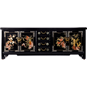 Chinese Ebonized Wood Mother of Pearl Storage Chest