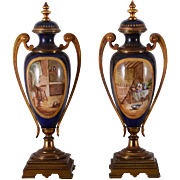 French Pair of Hand Painted Porcelain Urns