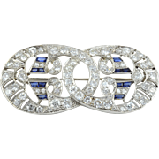 Platinum Art Deco Sapphire and Diamond Pendant or Brooch