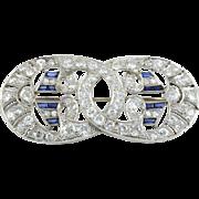 Platinum Art Deco Sapphire and Diamond Pendant or Brooch