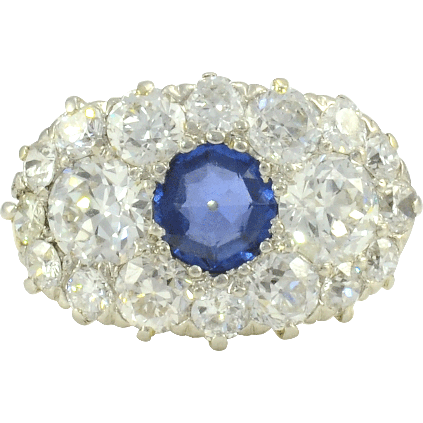 Center Sapphire Ring With Diamonds