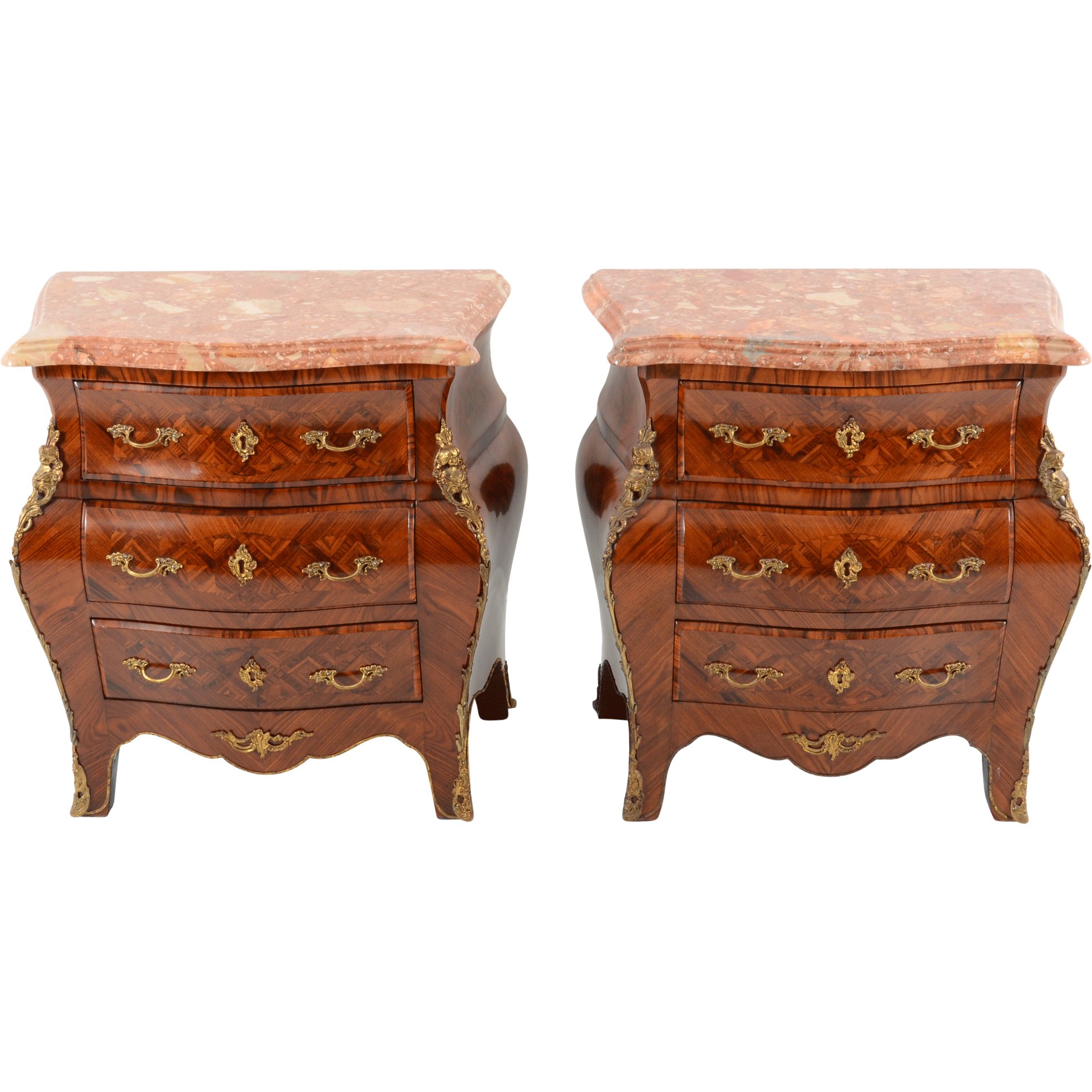 French Pair of Bombe Rosewood Commodes