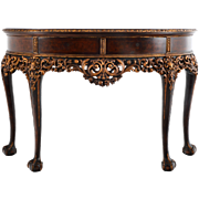 European Burl Walnut Console Table