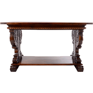 Italian Carved Walnut Library Table