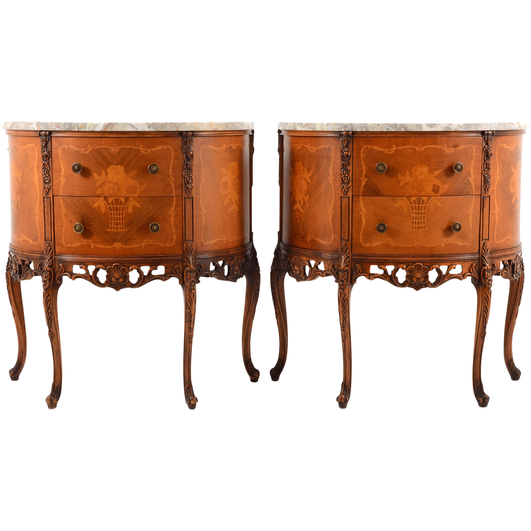 French Pair of Demilune Walnut Commodes