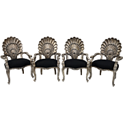 Italian Set of Four Carved Grotto Chairs