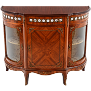 Italian Satinwood Parlor Cabinet with Porcelain Medallions