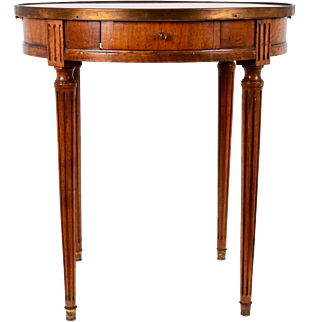 French Round Burl Walnut Marble Top Table