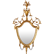 Gilt Wood Shield Shaped Wall Mirror
