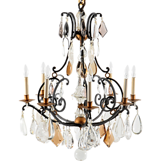 Amethyst Glass and Amber Glass Crystal Wrought Iron Chandelier