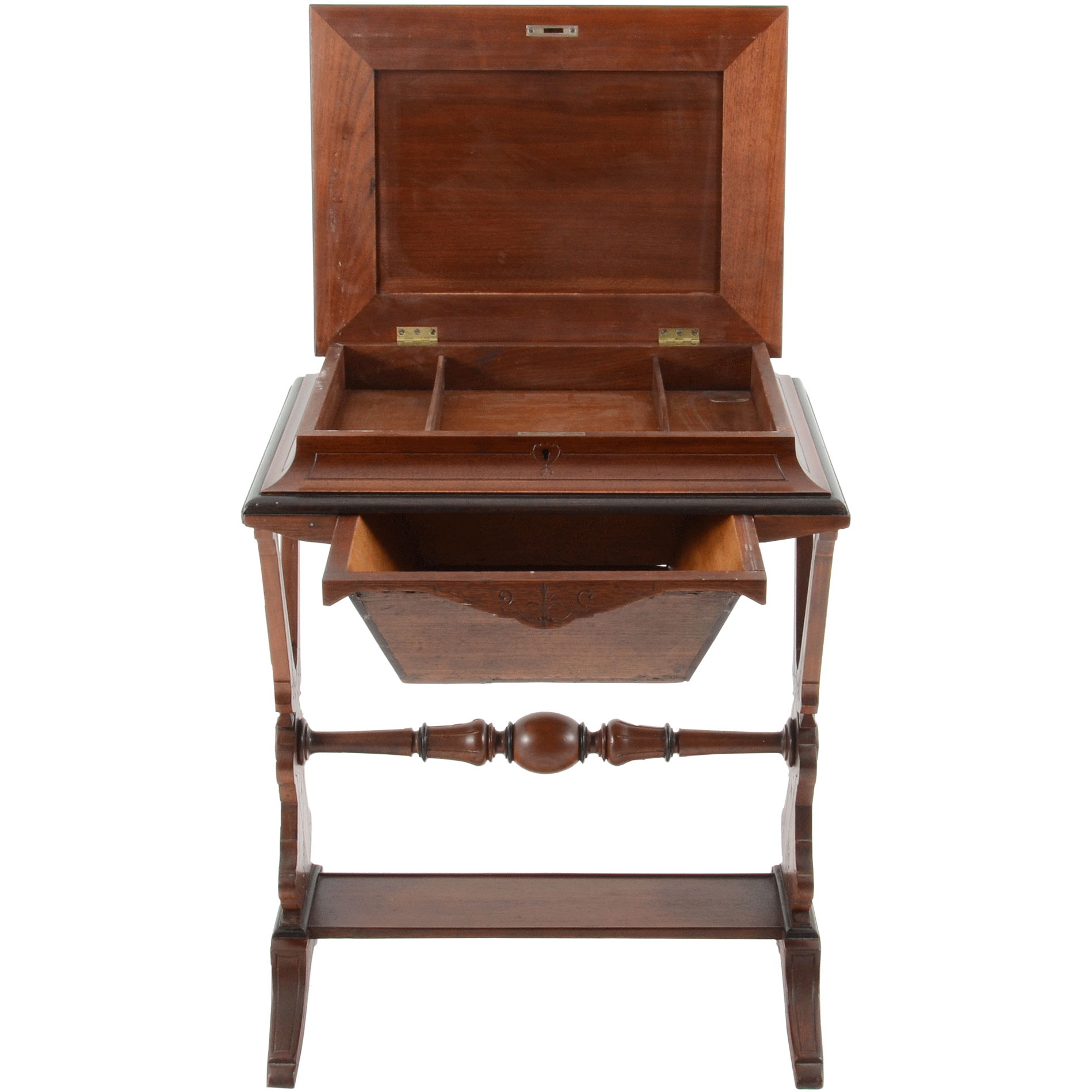 American Renaissance Revival Walnut Sewing Table
