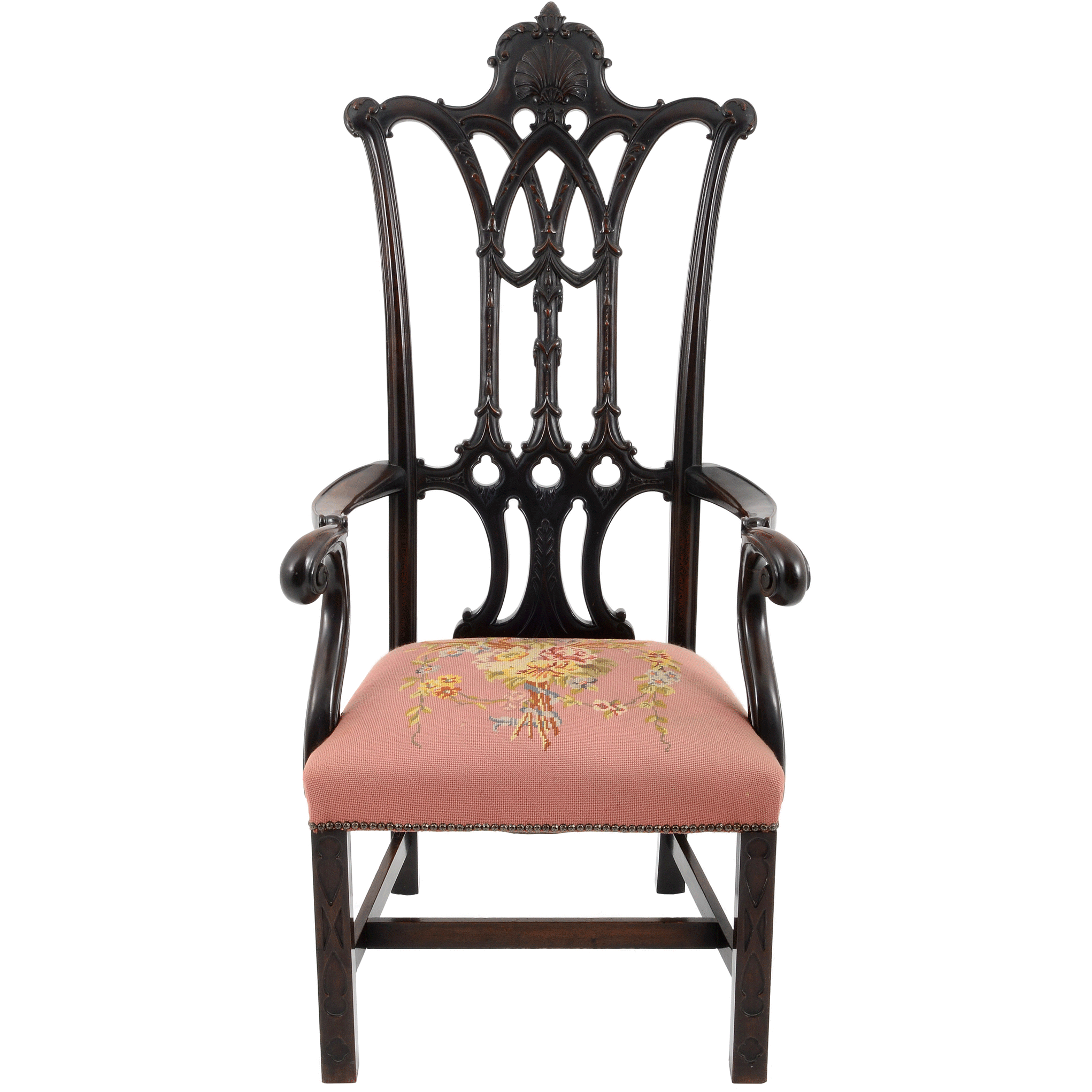 American Carved Mahogany Chippendale Arm Chair