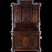 European Ornately Carved Oak Buffet