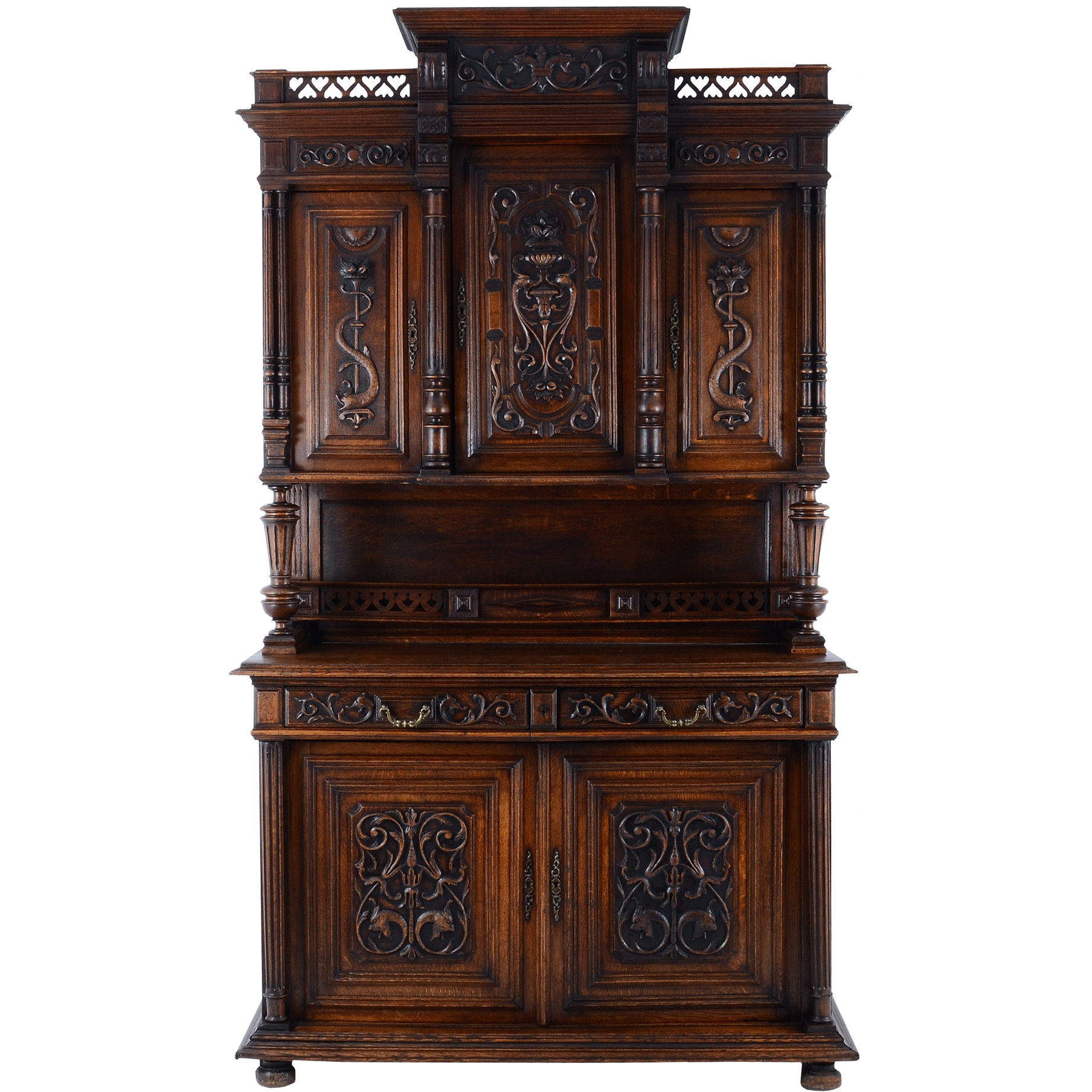 European Ornately Carved Oak Buffet