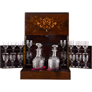 French Tantalus Set With Rosewood Box
