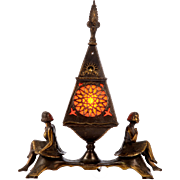 American Art Deco Cast Bronze Pyramid Lamp