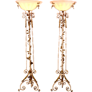 American Pair of Cast Iron Foliate Floor Lamps