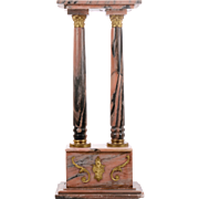 Rose and Gray Marble Two Column Pedestal