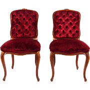 American Pair of Burgundy Velvet Side Chairs
