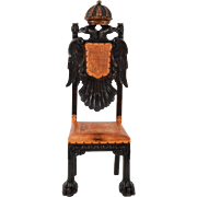 Austrian Carved Walnut Eagle Design Chair