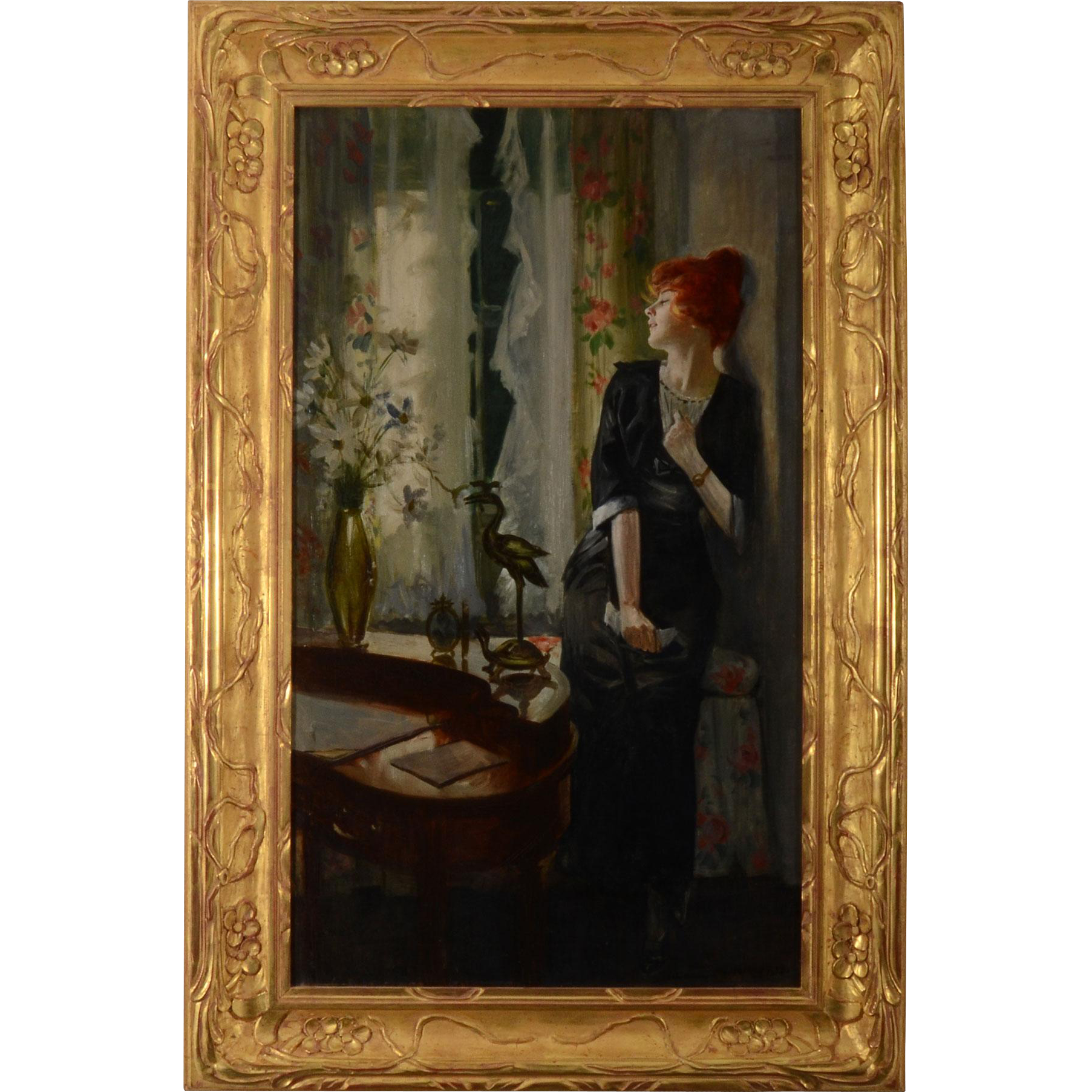 American Oil on Canvas Portrait of Seated Woman Signed Alonzo Kimball