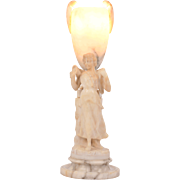 Art Nouveau Figural Alabaster Table Lamp