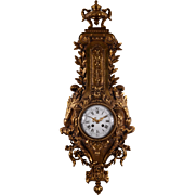 French Foliate Cast Gilt Metal Wall Clock