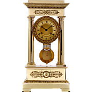 French Empire Nickel Plated Mantel Clock
