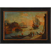 Harbor Scene Oil on Canvas