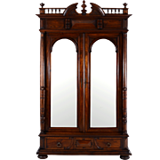 French Mirrored Two Door Walnut Wardrobe
