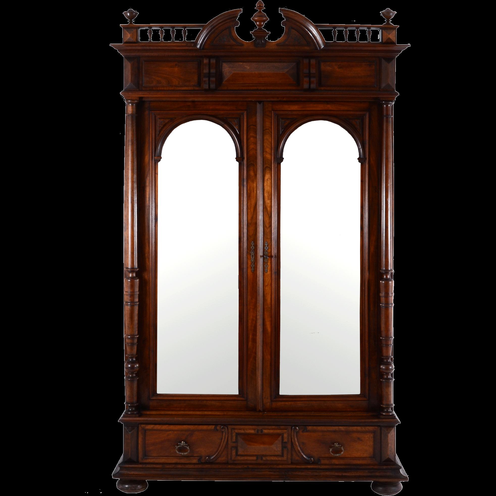 French Mirrored Two Door Walnut Wardrobe