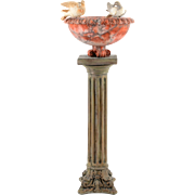 Italian Alabaster Bird Bath on Pedestal