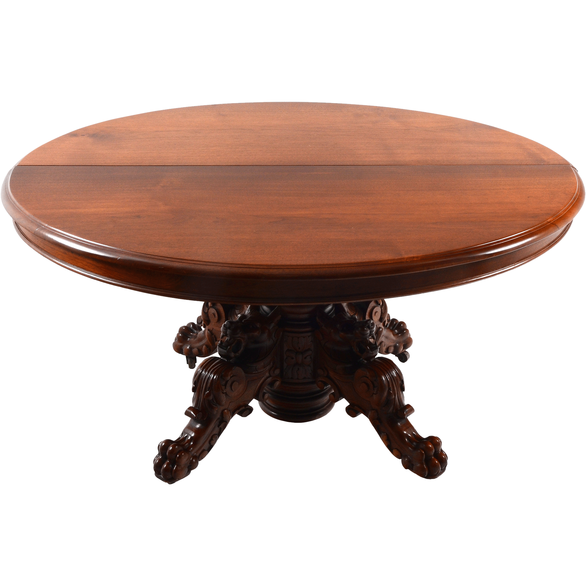 French Carved Walnut Dining Table with Figural Lion Legs