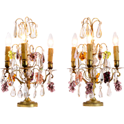 Pair of Crystal Drop Boudoir Lamps