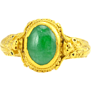 Chinese 24 Karat Gold Jadeite Ring