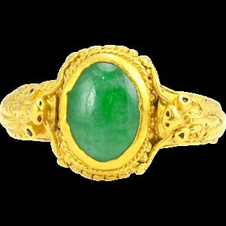 Chinese 24 Karat Gold Jadeite Ring