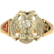 Scottish Rite Double Eagle Diamond Ring