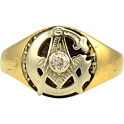 Center Diamond Masonic Ring