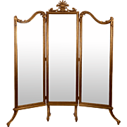 Gilt Wood Three Section Standing Mirror