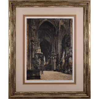 Luigi Kasimir Lithograph of Gothic Cathedral