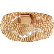 1.75 CTW Diamond Wide Gold Mesh Bracelet