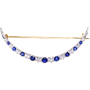 Tiffany & Co Diamond Sapphire Crescent Moon Pin