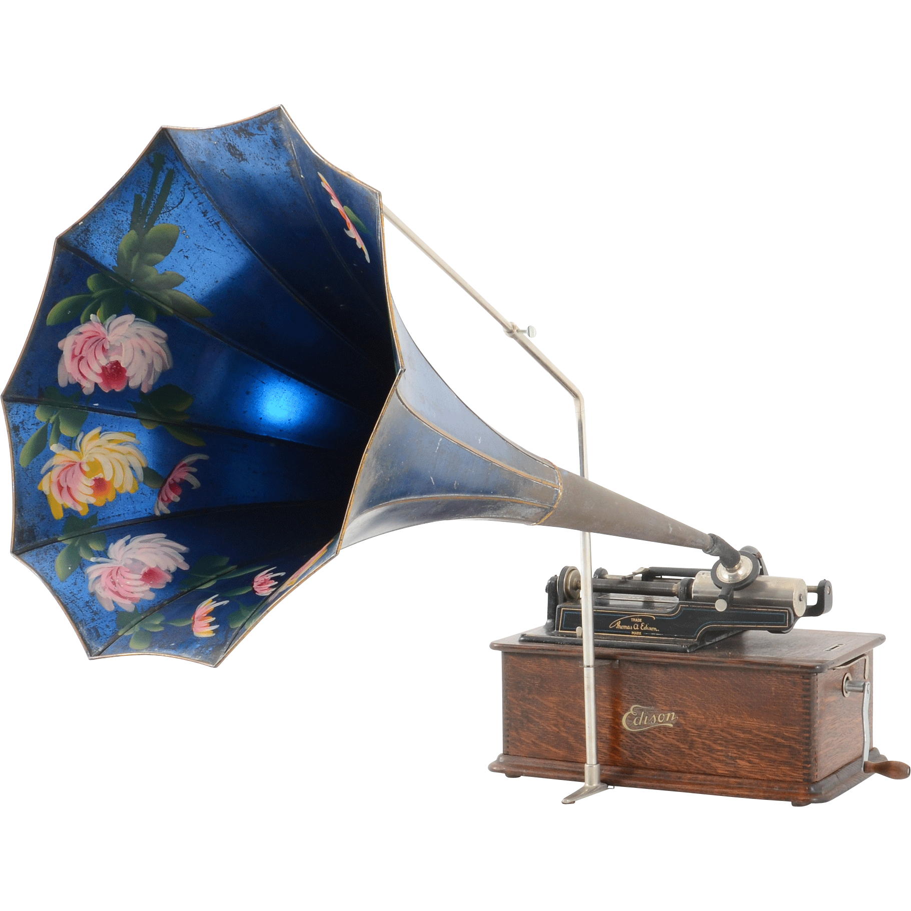 Edison Home Phonograph With Oak Cabinet and Original Morning Glory Horn