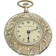 Engraved Sterling Silver Demi Pocket Watch by J E Caldwell