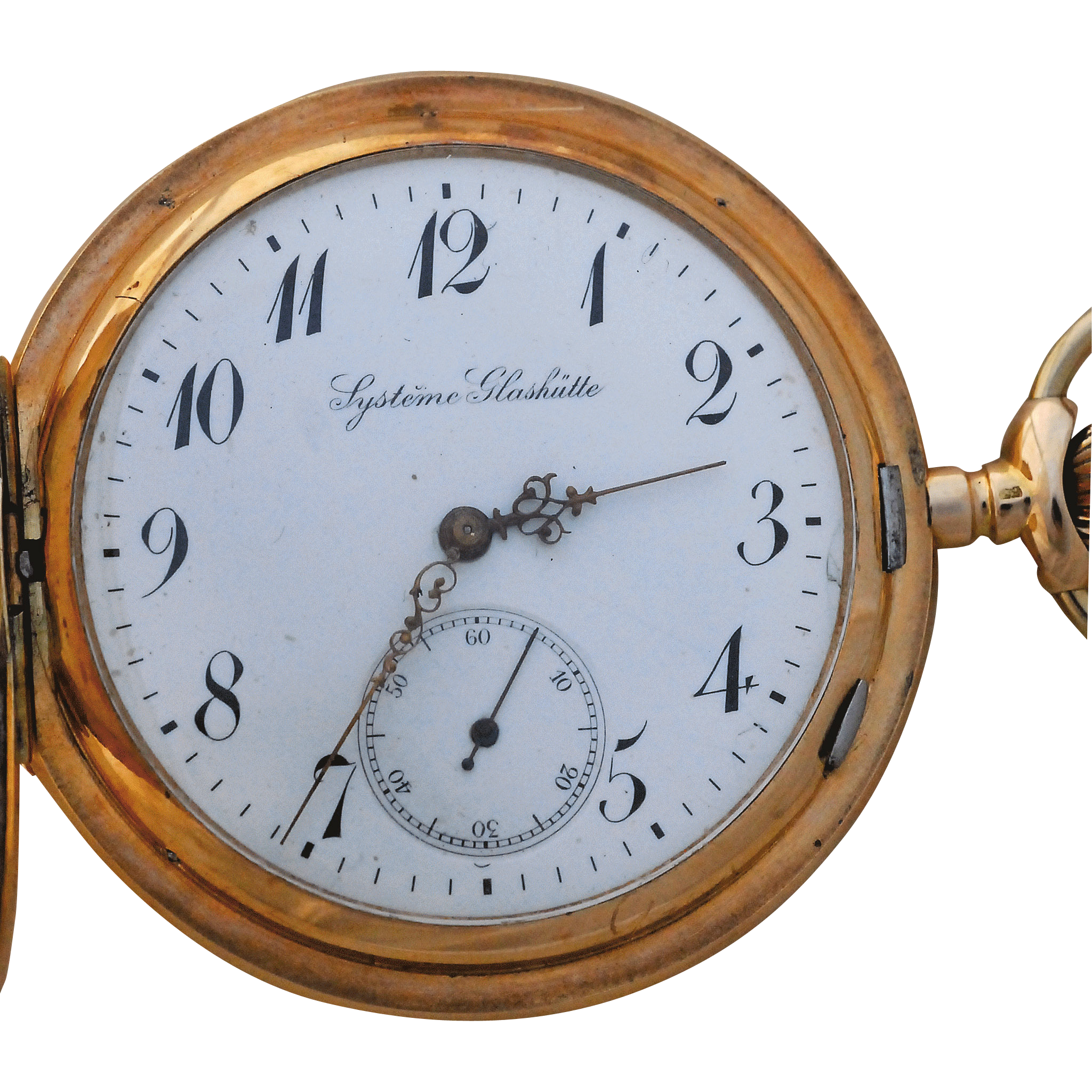 14 Karat Gold Hunters Case Pocket Watch by System Glashutte